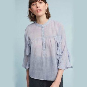 Maeve Small Blouse Ruffled Henley Top 697